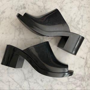 MELISSA black jelly chunky block heel sandals